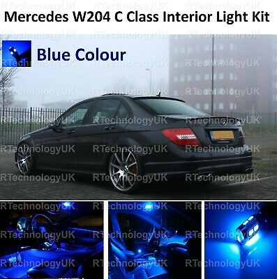 Premium Blue Mercedes C Class W204 Interior Full White Led Bulbs Light Kit Set