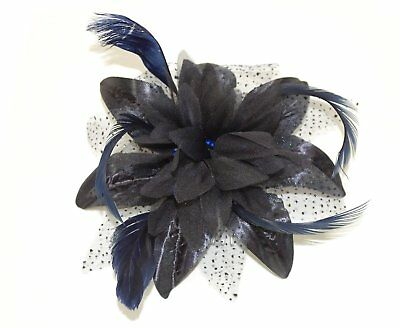 "Elegant ""BLACK NAVY""Flower Feather On A Comb Hair Fascinator Occasions Wedding"