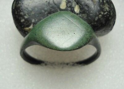 Ancient Roman Bronze Ring Initials Original Authentic Antique Rare R76