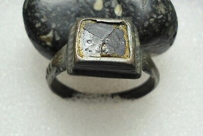 Ancient Roman Bronze Ring Initials Original Authentic Antique Rare R80