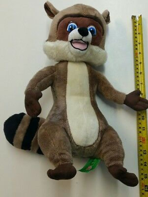 """Dreamworks Over The Hedge RJ Racoon Wild Animal Plush Soft Toy Talking 13"""" inch"""