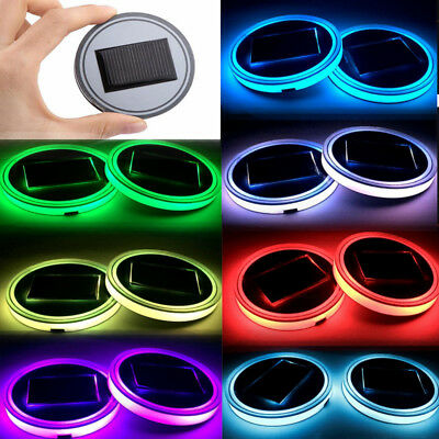 2X LED RGB Cup Holders Powered Car SUV Bottom Pad Mat Cover Trim Lamp +USB Cable