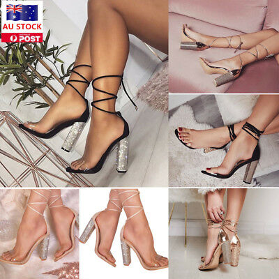 Women Ankle Strappy Crystal Block Hight Heel Open Toe Sandals Casual Shoes SIze