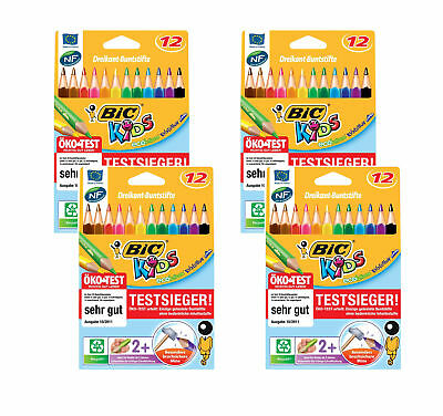 4 x Bic Kids ECOlutions Evolution Buntstifte  mit 12 Farbstiften Dreikant Jumbo