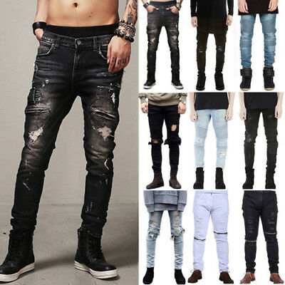Mens Biker Slim Fit Jeans Destroyed Frayed Distressed Ripped Casual Trendy Pants