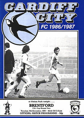 1986/87 Cardiff City v Brentford, FA Cup, PERFECT CONDITION
