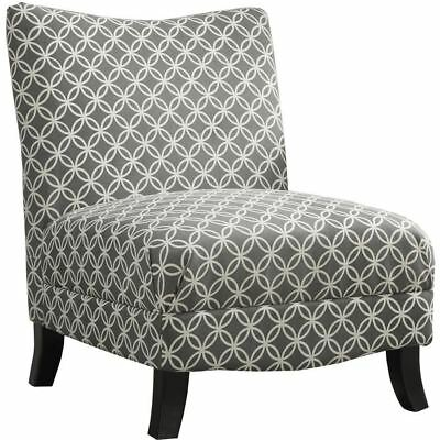 "Monarch Specialties I 8113 Accent Chair Grey "" Circular "" Fabric"