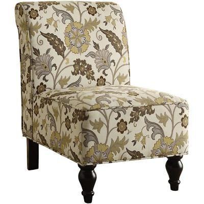 Monarch Specialties I 8125 Accent Chair Brown Gold Floral Traditional Fabric
