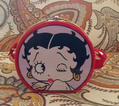 Betty Boop Small Round Tin Lunchbox 1999 Series #1 Crossbody Red Pink
