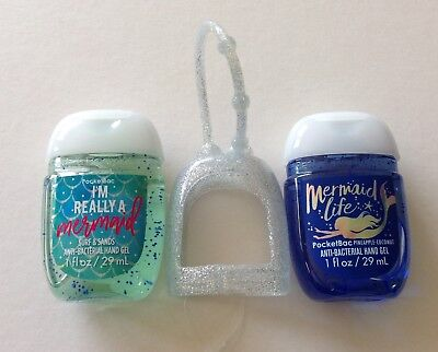 Bath & Body Works  2 x Hand Sanitizer Anti-Bac Gel & Holder, Mermaids Life Blue
