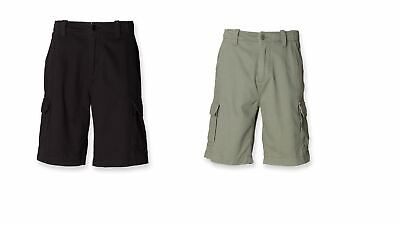 Gents Relaxed Fit Mens Cotton Cargo Workwear Leisure Shorts Black Olive SF64