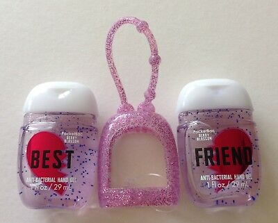 Bath & Body Works  2 x Hand Sanitizer Anti-Bac Gel & Holder, Best Friends Pink