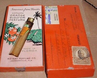 Vintage Bo-Kay Orange Blossom Perfume Bottle Souvenir From Florida Box