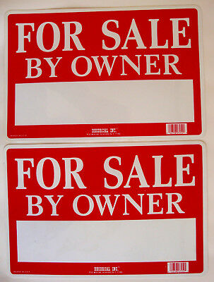 "Set of 2 For Sale By Owner Red/White Flexible Plastic Sign 12""x8"""