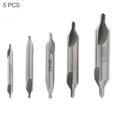 5x HSS 60° Combined Center Spotting Drill Angle Bit Set Tool Countersink Kit