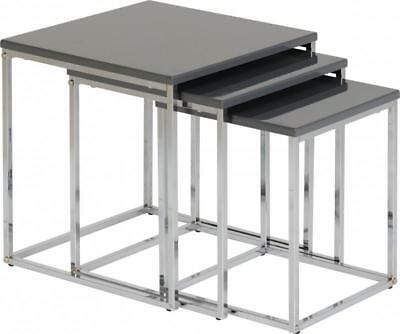 Charisma Nest of Tables in Grey Gloss/Chrome 24HR DELIVERY