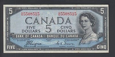 1954 $5 Dollars Devil's Face - Coyne Towers - Prefix C/C - Bank of Canada - B874