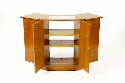 Danish Modern / Mid Century Rolling Expandable Curved Bar Cabinet - on casters