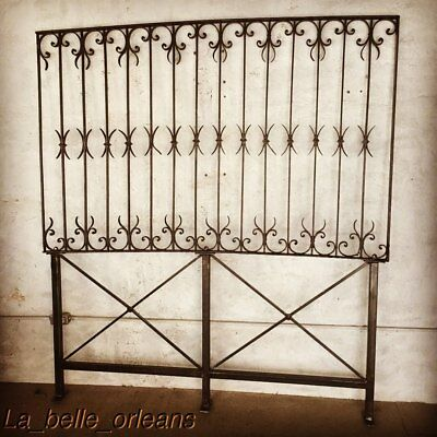 LATE 19THc WROUGHT IRON FENCE PANEL CUSTOM MADE BED HEADBOARD . QUEEN SIZE. L@@k