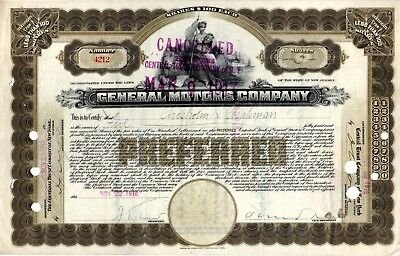 General Motors Company 1916 ( First Year) Stock Certificate #4212