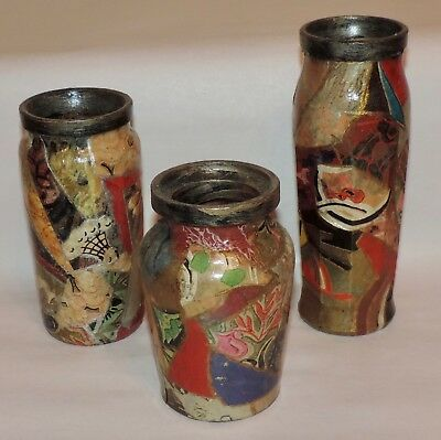 3 Vintage Art Deco Decoupage Collage Painted Glass Bottle Vases  Folk Art 1930's