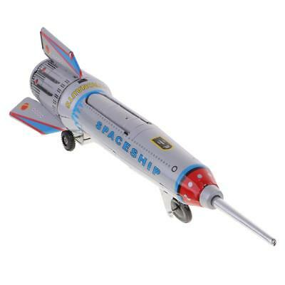 Vintage Retro Wind Up Tinplate Rocket Clockwork Collectable Space Tin Toys