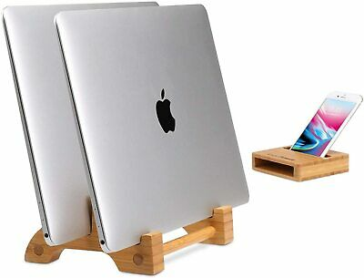 AVLT - Bamboo Vertical Stand Holder Organizer for Macbook w/ Phone Holder Stand