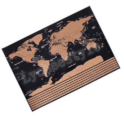 Black Deluxe Scratch Map Travel Scratch Off World Map Home Decoration Gift