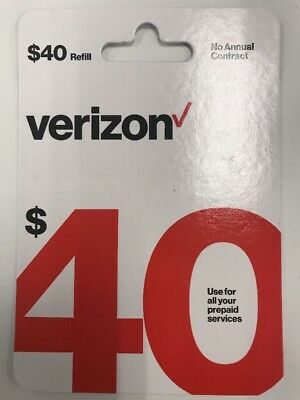 Brand New $40 Verizon Wireless Prepaid Refill Card (Mail Delivery)email Too!