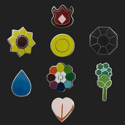 8Pcs/Set For Pokemon Brooch Kanto Gym Badges GEN 1 League Cosplay Gifts
