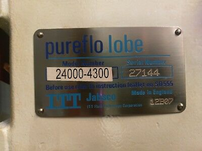Itt Pureflo Lobe 24000-4300 Food/pharmaceutical Grade Rotary Lobe Pump 27144