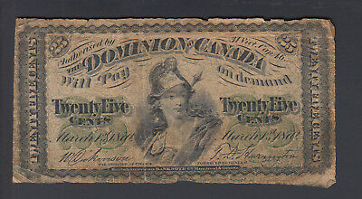 1870 25 Cents Shinplaster - Letter ''B'' - Dominion of Canada - D788
