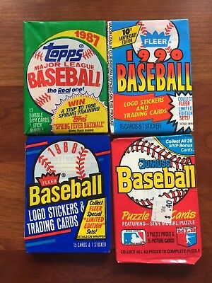 Huge Lot Of 1250 Old Unopened Baseball Cards In Packs 1990 And Earlier