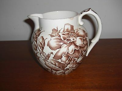 """Antique Aesthetic Movement Brown Transferware Bwm& Co """"rose"""" Pitcher"""