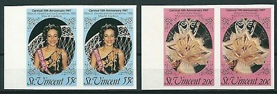 ST. VINCENT 1987 CARNIVAL 10th ANNIVERSARY LOT OF 2 TRIAL STAMPS -CAG 200415