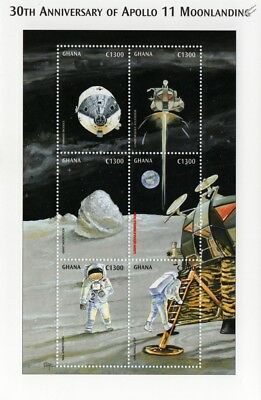 APOLLO XI Moon Landing/Neil Armstrong/Spacecraft Space Stamp Sheet (1999 Ghana)