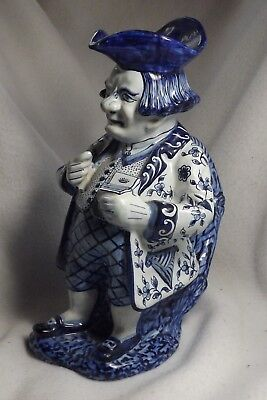 """Antique  French Faience Figural Pitcher Snuff Pinching Man Large 10 ¼"""" High Toby"""