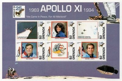 Apollo XI / Space Shuttle CHALLENGER STS-51-L Memorial Stamp Sheet/1994 Grenada