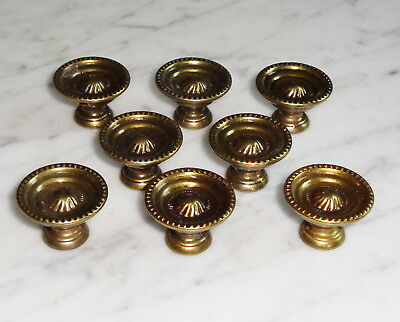 Set of 8 Vintage MCM Hollow Brass Cabinet Door Drawer Pull Knobs - 1 1/8 inch