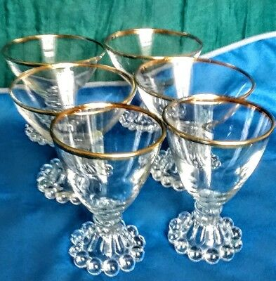 Set of Six Vintage Anchor Hocking Candlewick Glasses w/Gold Rims