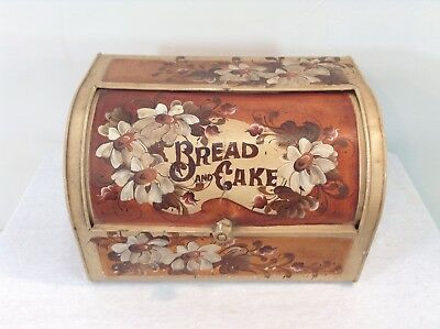 """Bread and Cake Cox or Bin Antique Vintage """"Bread and Cake"""" Hand Painted Floral"""