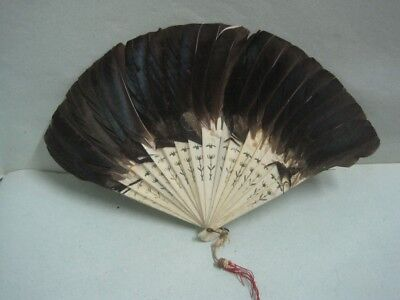 Antique Feather fan in brown