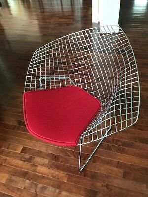 Authentic Knoll Bertoia Diamond Lounge Chair With Red Cover