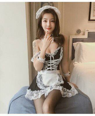Set Costume Completo Cameriera Maid Serva Sexy Cosplay Lingerie Calze Velate Sex