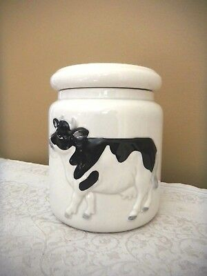 Otagari Black & White Cow Canister Cookie Jar Storage Foil Label Vintage