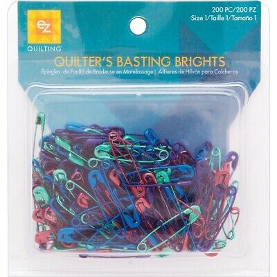 "200 Bright Colored Anodized Safety Pins Mix / Size 1 is 1 1/16"" Long"