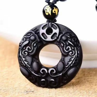 Chinese Natural Black Obsidian Hand-Carved Blessing Round Coin PiXiu Pendant