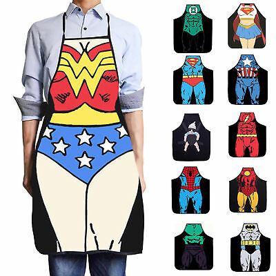 Waterproof Men Women Comics Bib Apron Superhero Costume Kitchen Chef Funny Gift