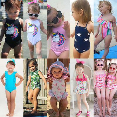 USA Kids Baby Girls Unicorn Bikini Set Swimwear Swimsuit Bathing Suit Beachwear