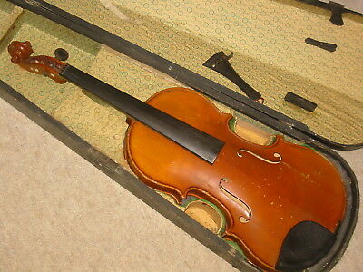 very nice old Violin  4/4   nicely flamed back, lined and blocked